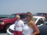 Mom and Patti on Ocracoke Island ferry 2008